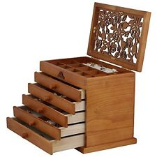 Wooden Jewelry Box Storage Hand Carved Cabinet Case Ring Necklace 5 Drawers NEW