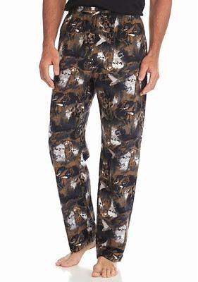 100% Vero Saddlebred - Uomo S - Nwt - Labrador Nero Cane Flanella Sleep Pajama Pantaloni