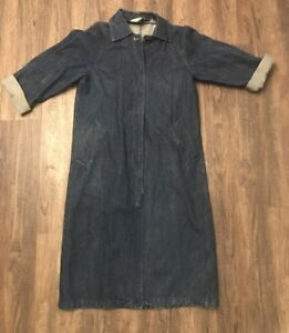 Vintage bouton en long pour Retro Veste jean 44 manteau Jean court femmes Learsi gp1nwnExvq