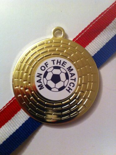 10 x 50mm 'Man of the Match' Medal & RedWhiteBlue Medal Ribbon, Gold, Silver