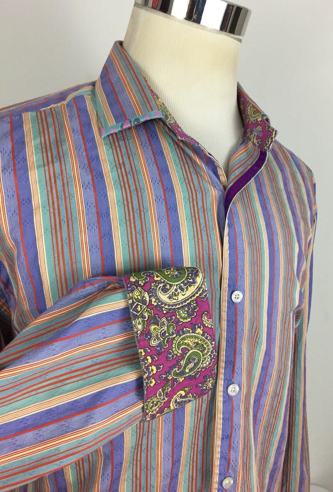 2bbe33543d3690 Robert Graham Mens 2XL Shirt Striped Multicolor Trim 100% Silk Flip Cuff EUC.  Polo Ralph Lauren ...