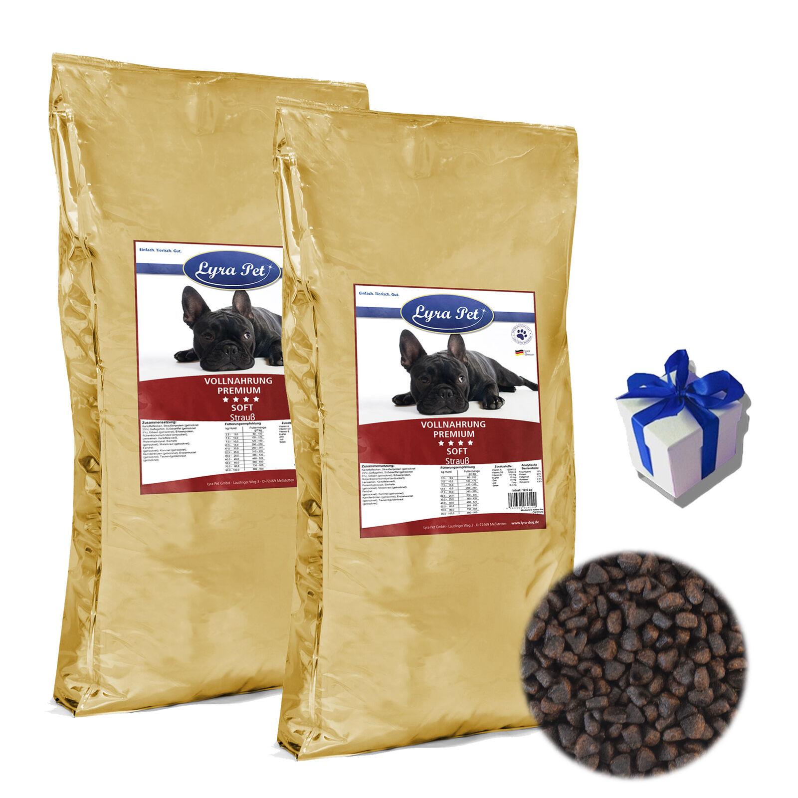 2 x 12,5 kg LYRA Pet Dog Soft struzzo Premium CIBO PER CANI SENZA GLUTINE  REGALO