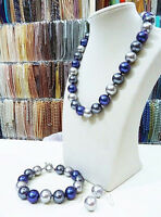 14MM multicolor South Sea shell pearl necklace bracelet earrings set