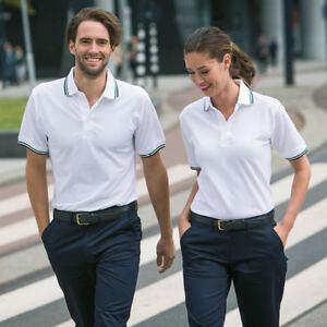 HENBURY-HB450-Poli-Algodon-Con-Punta-de-manga-corta-para-hombre-con-puno-Polo-Golf-Camiseta-Prendas