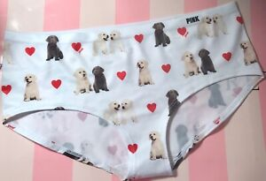 NWT VICTORIA/'S SECRET PINK LARGE BLUE WHITE DOG HEART LACE RARE HIPSTER PANTIES