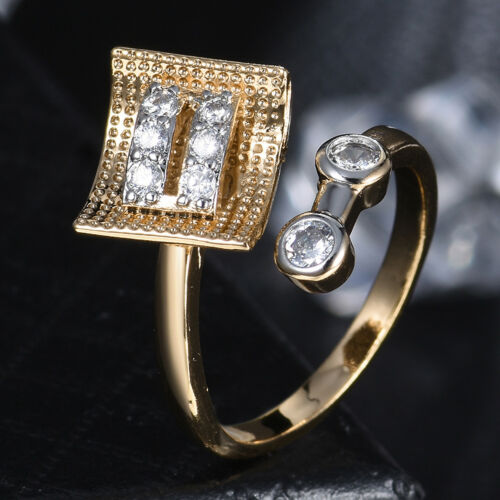 Style Boucle Ouverte Band Silver /& Gold Filled Crystal Réglable Femmes Lady Ring