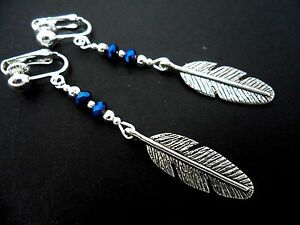 A-PAIR-OF-TIBETAN-SILVER-LONG-DANGLY-FEATHER-amp-CRYSTAL-CLIP-ON-EARRINGS-NEW
