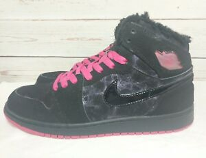 49c8e932a5 Details about Nike Air Jordan 1 Girls Kids Retro I High Top FUR zebra Size  7y Pink 535804-017
