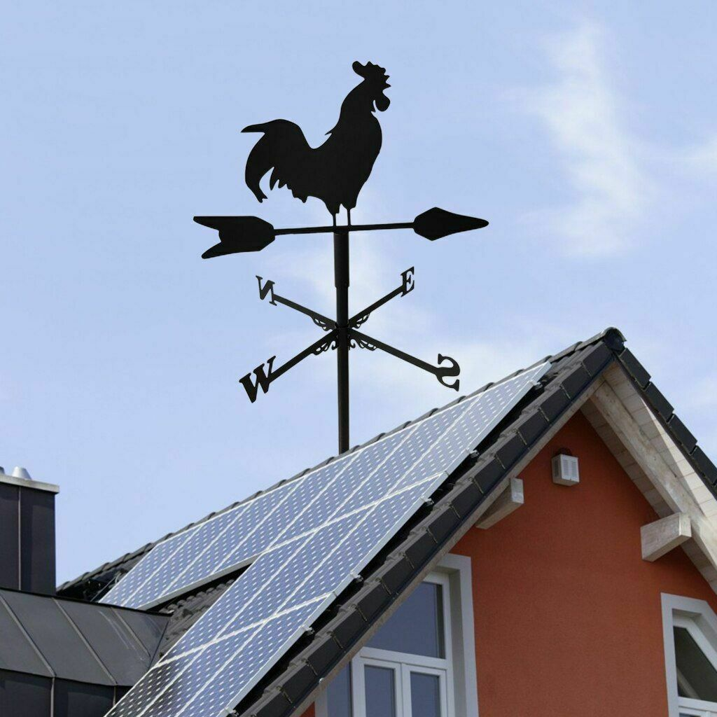 Rooster Shape Weathervane Patio Wind Direction Indicator Home Garage Cupola Barn