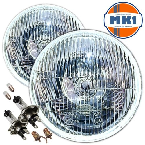 "7/"" DOMED LENS CLASSIC CAR SEALED BEAM HEADLAMPS HEADLIGHTS HALOGEN H4 CONVERSION"