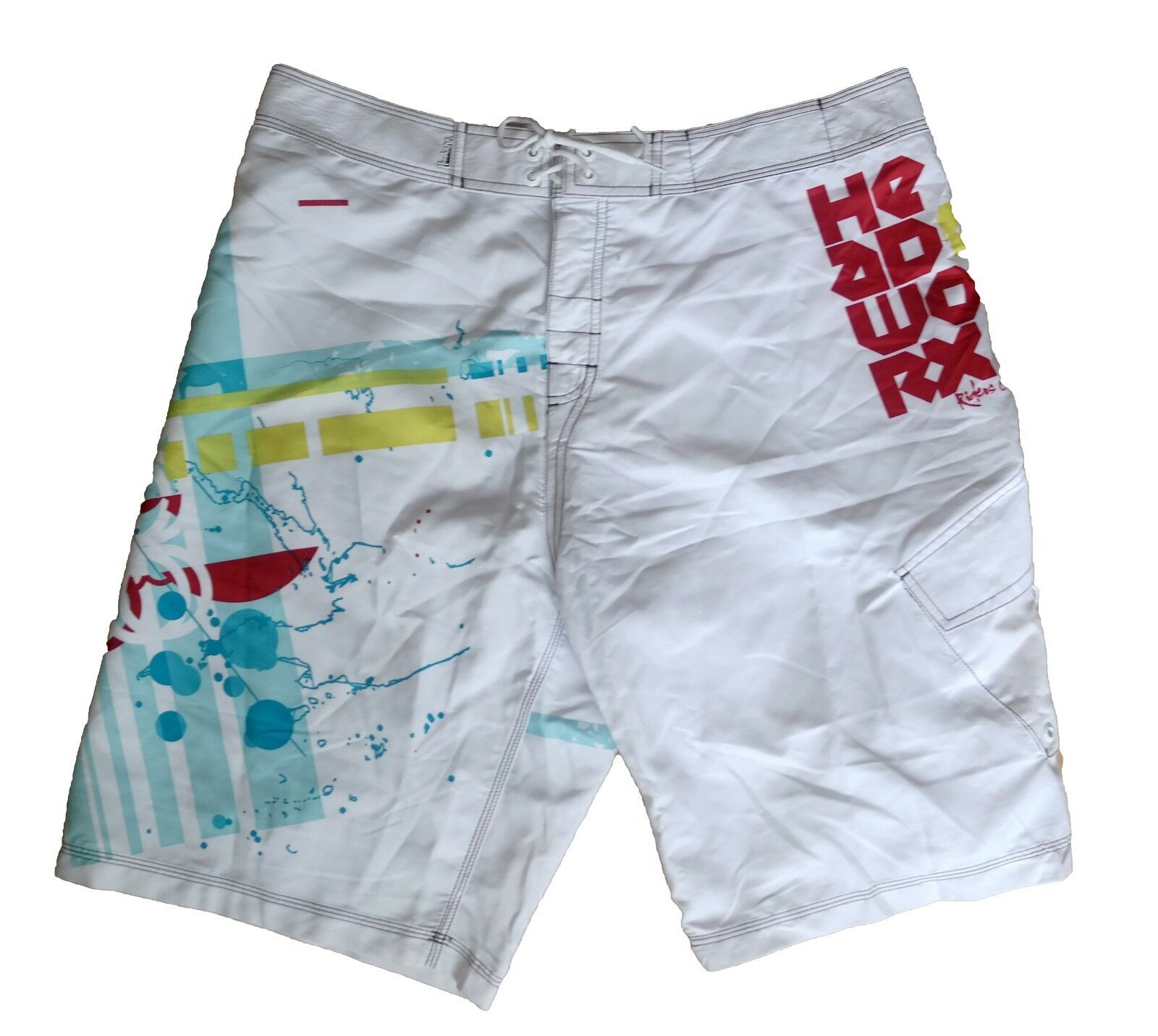 AJ'z Boardwear Headworx Board Swim shorts - Deep White - Size  XL