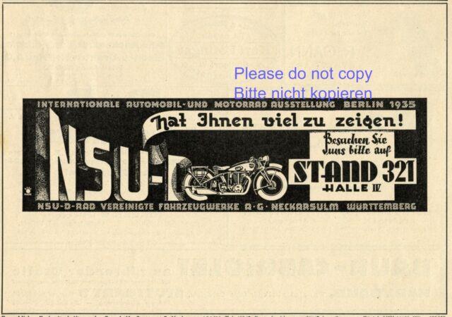 Bit 1935 moto NSU la publicité de 1935 internationaux automobile exposition AD