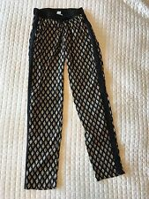 Bar 111 Pants Sz XS Elastic Waist Lightweight Boho Tribal Print Casual Black