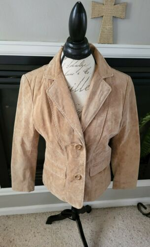 TravelSmith Tan Suede Leather Coat Jacket Womens B