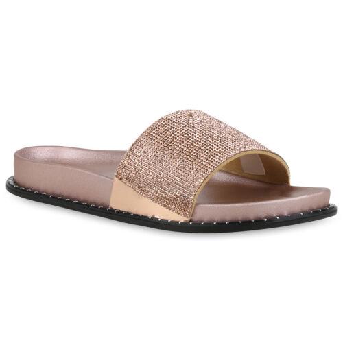 Damen Pantoletten Strass Sandalen Slippers Nieten Hausschuhe Flats 820928 Trendy