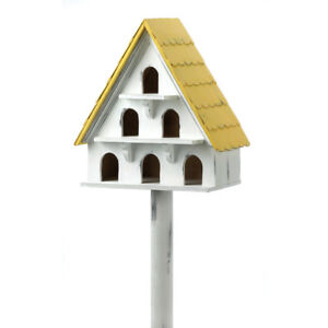 HOME-GARDEN-DECOR-CAPE-COD-CONDO-WHITE-BIRD-HOUSE-BIRDHOUSE-WOOD