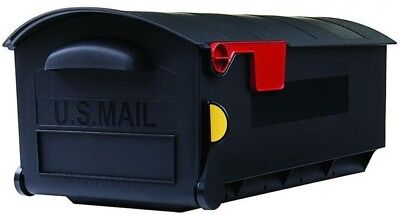 Mailbox Large Plastic Post-Mount Non-Locking Black with Outgoing Mail Indicator