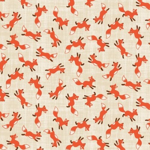 Fat Quarter Pieceful Gathering Foxes on Natural Sewing Cotton Quilting Fabric