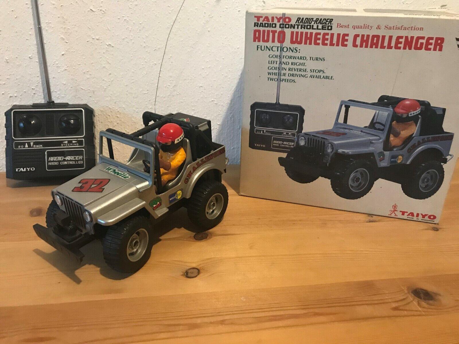 Taiyo Vintage Car Wheelie Challenger Jeep silber ferngesteuert RC 80er Jahre