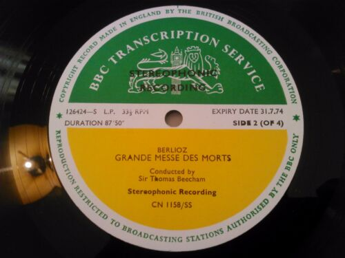 BBC TRANSCRIPTION SERVICE GRANDE MESSE DES MORTS BERLIOZ THOMAS BEECHAM LP