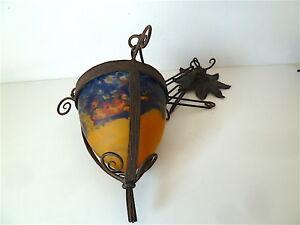 Lustre Obus Art Nouveau 1900 Pâte De Verre Fer ForgÉ Wrought Iron Chandelier Renforcement Des Nerfs Et Des Os