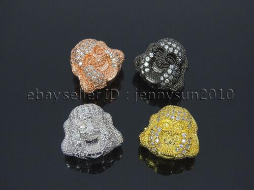 Zircon Gemstones Pave Happy Face Buddha Head Bracelet Connector Charm Beads