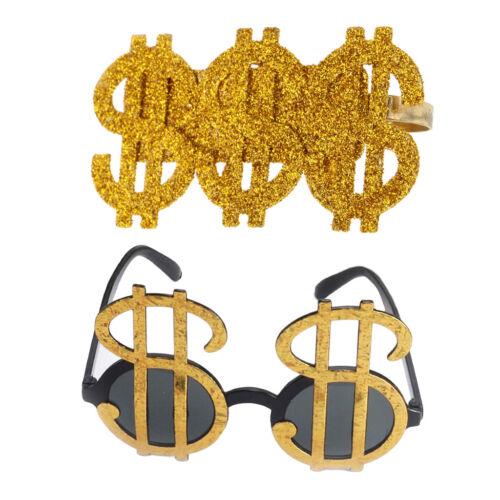 2pcs Novelty Gold Dollar Sign Money Ring Glasses Pimp Gangster Rapper Fancy