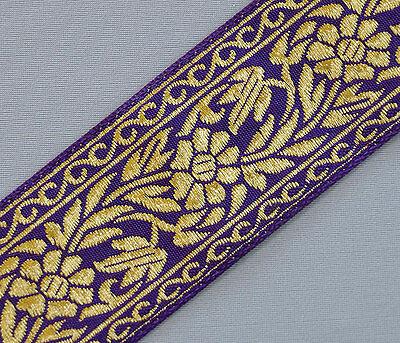 "1.7//16/"" Met Gold Paisley Jacquard Ribbon x 1 yd Turquoise or Purple"