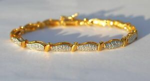 New-14K-Gold-Over-Silver-Diamond-Accent-Link-Bracelet-925-7-25-inches