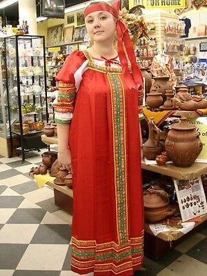 Russian Folk Traditional Sundress & Blouse, Red, Dress (48-50 size)
