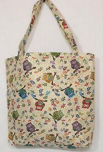 Eulen-Einkaufsbeutel-Uhu-Einkaufstasche-Shopper-Gobelin-Tapestry-Umwelttasche