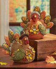 Fall Turkey Figurines Burlap Textured Glittery Jeweled Thanksgiving Autum Decor