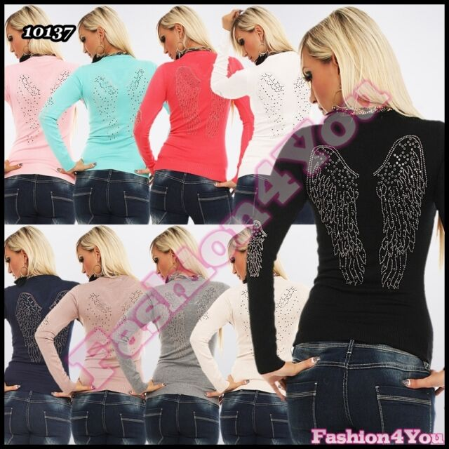 Womens Jumper Sexy Casual Angel Wings Ladies Pullover ONE SIZE 8,10,12 UK
