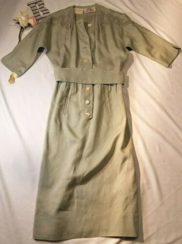 Vintage XS Moygashel Irish Linen Sage Dress With C