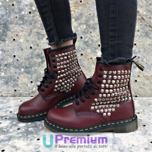 Dr. Martens Burdeos Zapatos Tachuelas Plata Completo 1460 Producto Personalizado Zapatos Burdeos 6e5669