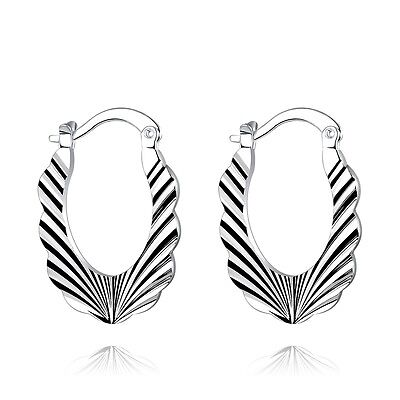 Silver Plated Oval Drop Engraved Huggy Women Lady Hoops Medium Earrings E1043