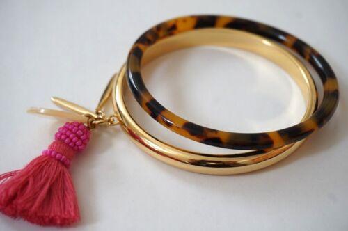 NWOT J.CREW Bangle set with Hot Pink Tassel Charm-Clearance