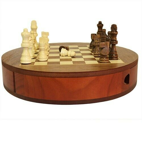 Round Wooden Set with Storage Drawers and Chest Pieces - 30cm