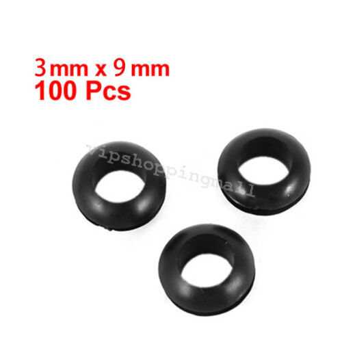 100PCS Rubber Cable Wiring Grommets Gasket Ring 3mmx9mm Practical 2Colors  New