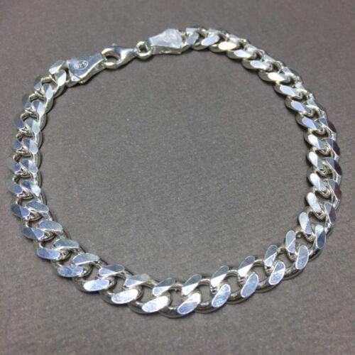 Mens Cuban Curb Link Chain Bracelet 925 Sterling Silver 8.66 Inch 7mm 21.5GR