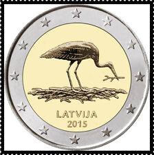 2 EURO *** Letland 2015 Zwarte Ooievaar *** 2015 Lettonie Cigogne Noire !!!