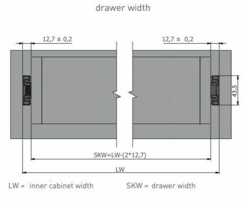 Push To Open Extension complète 45 mm Roulement à billes tiroir Runners//SLIDES 300mm-600mm