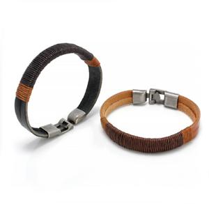 Retro-Women-Men-Surfer-Hemp-Wrap-Leather-Cuff-Bracelet-Bangle-Wristband-Jewelry