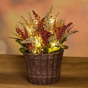 Lighted Autumn Potted Floral Arrangement Artificial Plants For Thanksgiving Ebay