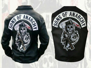 Veste Gilet Cuir Biker Type Sons of Anarchy SOA Poches Poitrines (2XL)