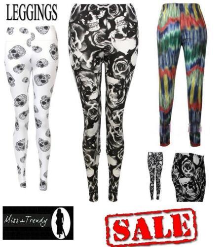 Ladies Womens Skull /& Rose Dyed Skull Printed Full Ankle Length Leggings UK 8-14