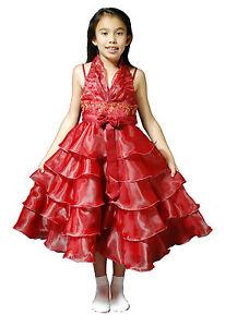 bfc4f7643 Detalles de Nuevo Dama de Honor Vestido Niña con Flores Azul Rosa Fucsia  Burdeos Amarillo