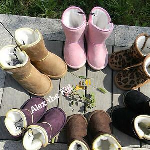 KIDS-BOOTS-CHILDREN-UGG-BOOTS-WARM-WINTER-BOOTS-SLIPPERS-BROWN-PINK-TAN