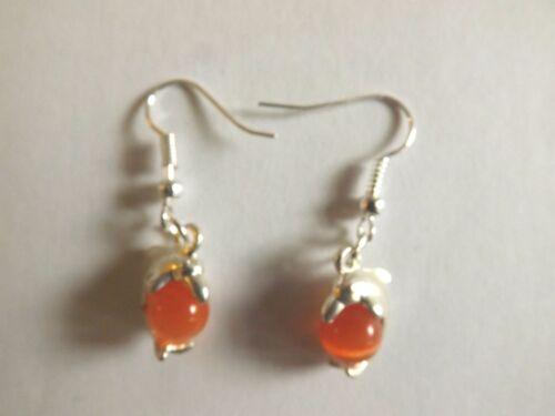 Ohrringe Silber Delfin Perle Katzenauge Orange