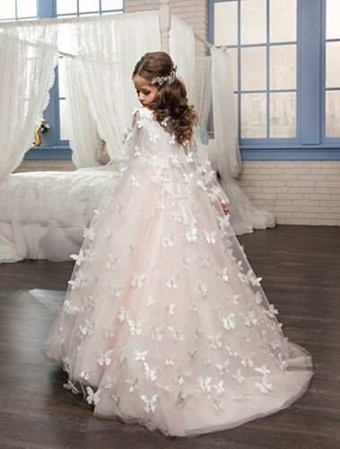 Ivory and Blush Pink Tulle Flower Girls First Communion Dresses with Butterfly
